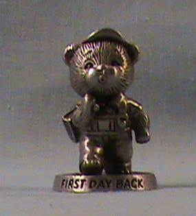 SO-1983 Avon Benjamin Bearington-First Day Back Pewter Figurine - Click Image to Close
